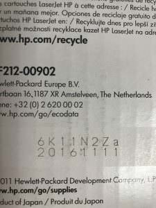 Как узнать дату производства лазерных картриджей HP?